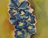 RESERVED for Blast From the Past/ Vintage 1950s Watercolor Painting Blue & Yellow Buttercup Flowers, Floral Bouquet