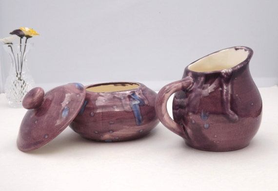 Purple Ceramic Cream and Sugar bowl set hand painted and food safe