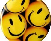 Happy Face button or fridge magnets, unique designs