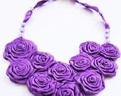 Purple Flower Bouquet Satin Necklace