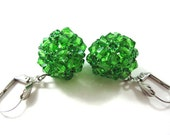 GREEN  Bead Woven Swarovski Crystal Earrings, Sterling Silver Plated Hooks, Fashion