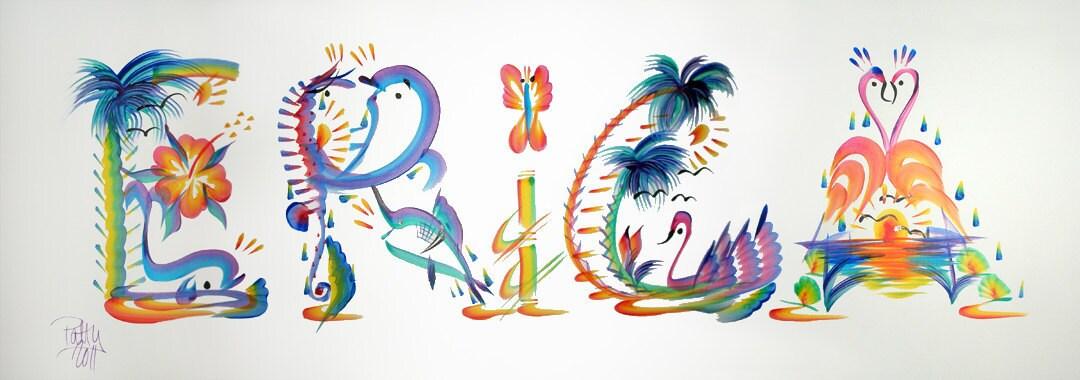 Name Art: Name Painting Tropical Name Art Hand Painted