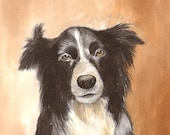 Black Dog - Original Watercolor Painting 8x11