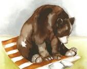 Reader Bear- Original Painting 8x11