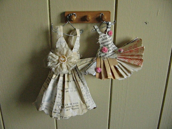 RESERVED Assemblage Art Dress Made From Paper and Fabric -