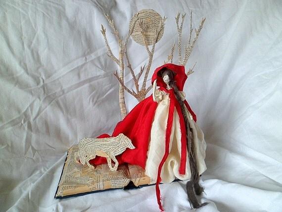 Wire and papier mache sculpture red riding hood sale for Papier mache art for sale