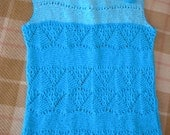 Summer blue knitting lace top