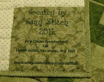 Large Quilt Custom Quilt label