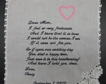 Mother of the Bride Handkerchief from Bride with Pink Heart Design, Wedding date White with Chrochet Border