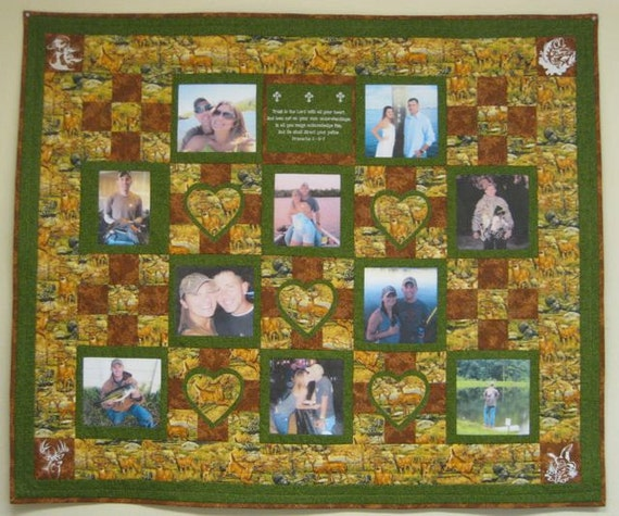 Photo Memory Quilt With 10 Pictures with a Hunter's Theme