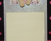 Light Purple Flip Flops Acrylic Magnetic Post It Note Holder