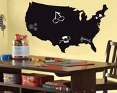USA Map Vinyl Chalkboard / Dry Erase Wall Art Decal