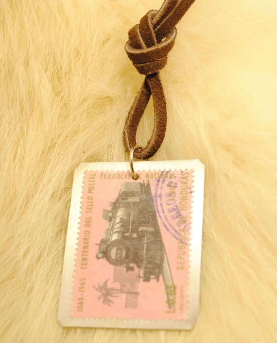 Upcycled Train Postage Stamp Pendant