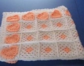 Peach and White Heart Granny Square Baby Afghan  Ready to Ship