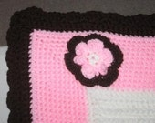 Soft White, Pink, and Chocolate Blanket with Flower Applique   Ready to Ship