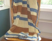 Sandy Shells Striped Afghan - Ready to be Shipped