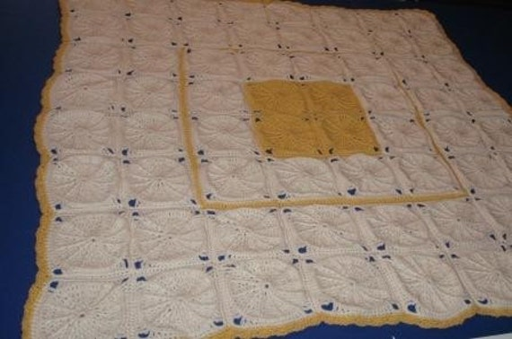 Soft White and Gold Pinwheel Granny Square Blanket  Ready to Ship
