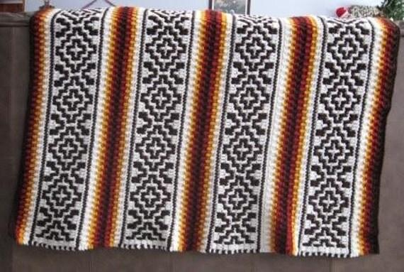 Southwestern Style Crochet Afghan  Ready to Ship