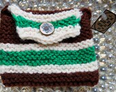 Brown White and Green Striped Coin Purse