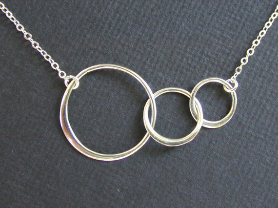 Sterling Silver Triple Circle Infinity Necklace, everyday, wedding, graduation, best friends, gift