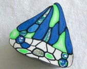 butterfly wing polymer clay cane in green, blue and white