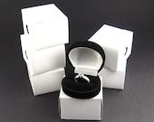 Black flocked velvet Ring Box, pack of 6