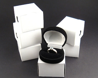 Black flocked velvet Ring Box, pack of 6