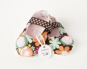 NELLA CORDELIA-Brown, Pink, Blue, Green, Orange, Flower Mary Jane Baby Girl Booties
