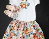 Girl Floral Outfit, Skirt, Romper, Onesie, Body Suit, Shoes, Booties-Cream, Pink, Orange, Blue, Green