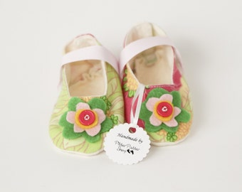 TROPICAL PARADISE-Pink, Green, Yellow, Flower Mary Jane Baby Girl Bootie