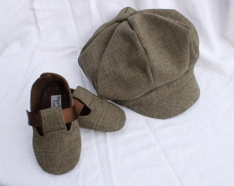 Brown Cloth Newsboy Cap or Newsie Hat and Matching Baby Booties. Sporty, Infant, Shoe.