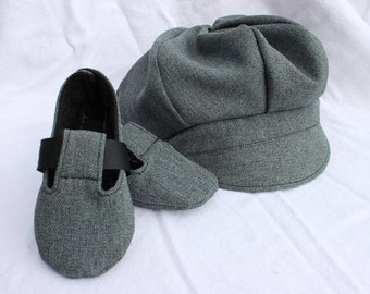 Charcoal Gray Cloth Newsboy Cap or Newsie Hat and Matching Baby Booties. Sporty, Infant, Shoe.