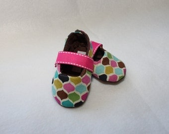 HOP SCOTCH-Pink, Yellow, Green, Blue, Teal, Brown Mary Jane Fabric Baby Booties