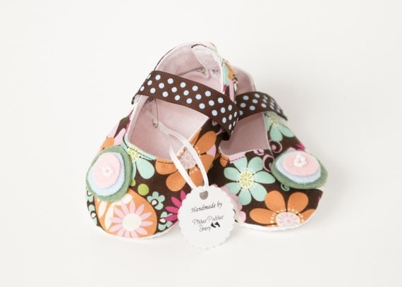 NELLA CORDELIA-Brown, Pink, Blue, Green, Orange, Flower Mary Jane Baby Girl Booties