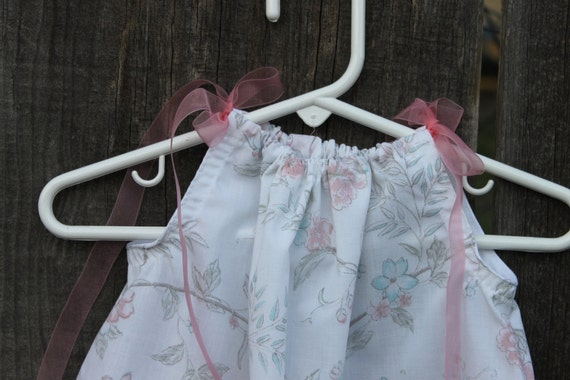 Pillow Case Dress Pink, Blue, Cherry Blossom Floral Upcycled Baby, Newborn, Infant Dress 0-6 months