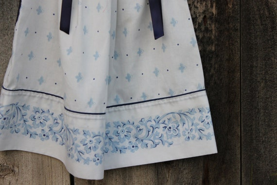 Genuine Pillowcase Blue, Navy, White, Floral Toddler Tunic Dress 12, 18 months size