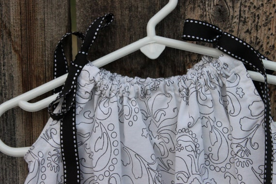 Upcycled Pillowcase Dress Black and White, Floral Baby Tunic 0, 3, 6 months size