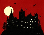 Handcut Paper Dusk at Draculas Castle Framed 8 X 10  OOAK