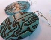 Circuit Board Blues Dangle Earrings