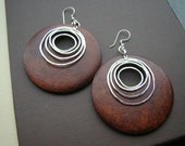Magic Spell , wooden dangling earrings with sterling silver ear wires