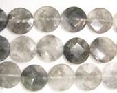 12mm Flat Round Cut Cloudy Quartz Bead Semiprecious Gemstone Bead String Beading 15''L Jewelry Supply Wholesale Beads