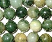 "8mm Round Green Rutilated Jasper Bead Semiprecious Gemstone 15""L 15""L Bead String Beading  Jewelry Supply Wholesale Beads"