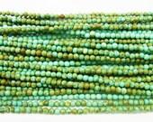 2mm Round Howlite Turquoise Yellow 15''L Semiprecious Gemstone  Jewelry Supply Wholesale Beads