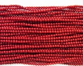 Coral Natural Genuine Loose Beads 4mm Round Dark Red  7.5 inches length, 19 cm - Wholesale Coral