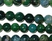 Moss Agate Beads 8mm Round Chunky Beads 15''L Natural Genuine Semiprecious Gemstone Bead Wholesale Beads