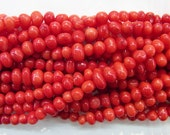 Coral Natural Genuine 4-6mm Nugget Red Gemstone Semiprecious Gemstone 15'', 38 cm- 15''L Jewelry Supply Wholesale Beads