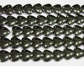 Hematite Beads 6mm Heart Natural Bead Semiprecious Gemstone - 15''L Jewelry Supply