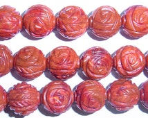 Coral Natural Genuine Loose Beads 12mm Round Free Carved Red Beads 15 inches length, 38 cm- Wholesale Coral
