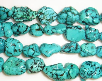 "15-20mm Turquoise Beads Nugget A Grade Semiprecious Gemstone 15""L Bead Natural 15 inch"