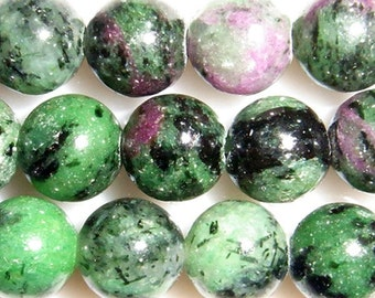 6mm Round Ruby In Zoisite Bead Semiprecious Gemstone Bead String Beading 15''L Jewelry Supply Wholesale Beads